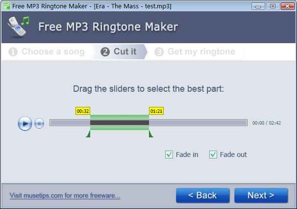 Click to view Free MP3 Ringtone Maker 2.1.0.395 screenshot