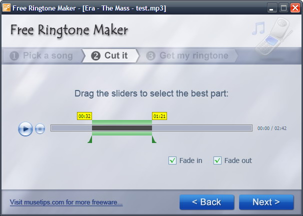 Click to view Free Ringtone Maker 2.4.0.1686 screenshot